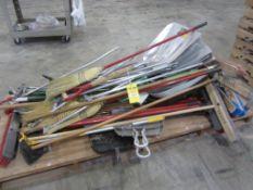 Pallet of brooms, shovels, floor dust mops