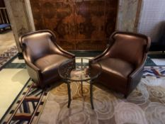 A Pair Of Edelman Lounge Chairs In A Bronze Leathered Upholstery With Studied Pattern. 82x 75x