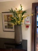 A Set Of Two MICA Silver Coloured Ceramic Glazed Vases 58cm Tall Complete With Artificial Plant (
