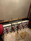 A Pair Of Villers Bros Bronzed Three Leg Clear Glass Top Round Table 81cm x 66cm ( Loc Lobby)