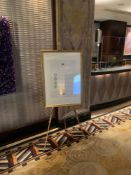 A Pine Artist Easel A Frame With Gold Painted Picture Frame 165cm Tall ( Loc Lobby)