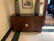 Porta Romana Four Door Sideboard Wood Starburst Inlay With A Black Granite Top Bowed Front 150x