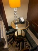 A Pair Of Mirrored Top Side Tables 60cm x 68cm With Lower Tier Shelf It Would Finish And A Bronze