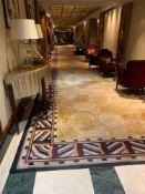 Bespoke Wool Carpet Approximately 40 Metersx 3 Meters Beige And Cream Field With Geometric Blue,