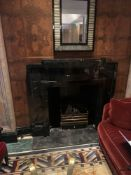 A Black Marble Art Deco Fire Surround Complete With Hearth And Removable Fire Basket 153x 140cm (