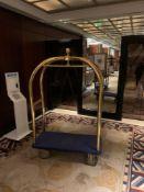 Brass Birdcage Trolley Concierge Cart With A Blue Velvet Pad 115x 55x 180cm ( Loc Lobby)