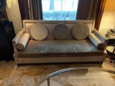 A Pair Of Contemporary Velvet Three Seater Sofas With Pin Stud Box Detail Loose Cushions And 2x