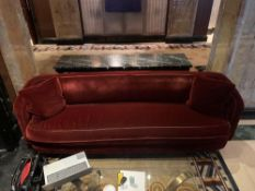 A Curved Arm Red Velvet Sofa 250cm x 80cm With A 63cm Seat Pitch ( Loc Lobby)