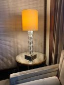 A Pair Of Porta Romana Table Lamps Model GOB/01 Glass Design With Linen Shade And Metal Base 82cm