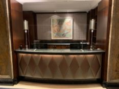 Reception Counter With Black Marble Top And Curved Front Padded Fascia At Front Of Desk 270cm