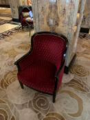 A Pair Of Red Upholstered Lounge Chair With Mahogany Arms And Studied Back 68x 60x 91cm ( Loc