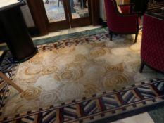 Bespoke Wool Carpet Approximately 2.2 Metersx 5.5 Meters Beige And Cream Field With Geometric