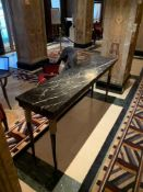 A Black Marble Top Console Table With Wooden Legs With Gold Accent Detail 180cm x 45cm x 86cm Tall (