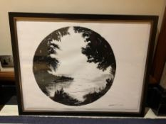 Original Artwork Framed Wall Art Still Life Charcoal And Pencil Black And White On Paper Signed