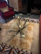 Villiers Bros Caspian Coffee Table Bronzed Metal Based Coffee Table With Glass Top 114x 83x 42cm (