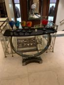 Villers Bros Omega Console Table Satin Nickel With Flame Cut Edge Detail And Bow Fronted Black