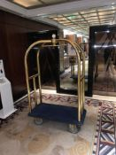 Brass Birdcage Trolley Concierge Cart With A Blue Velvet Pad 123x 63x 200cm ( Loc Lobby)