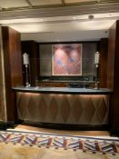 Reception Counter With Black Marble Top And Curved Front Padded Fascia At Front Of Desk 250cm