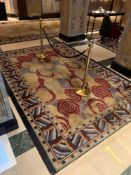 Bespoke Wool Carpet Approximately 2.45x 3.8 Meters Beige And Cream Field With Geometric Blue, Red,