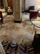 Bespoke Wool Carpet Approximately 6 Metersx 5.5 Meters Beige And Cream Field With Geometric Blue,
