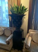 A Large Wooden Urn And Plinth Urn Dimensions 60cm x 60cm x 78cm Plinth Dimensions 42cm x 42cm x 90cm