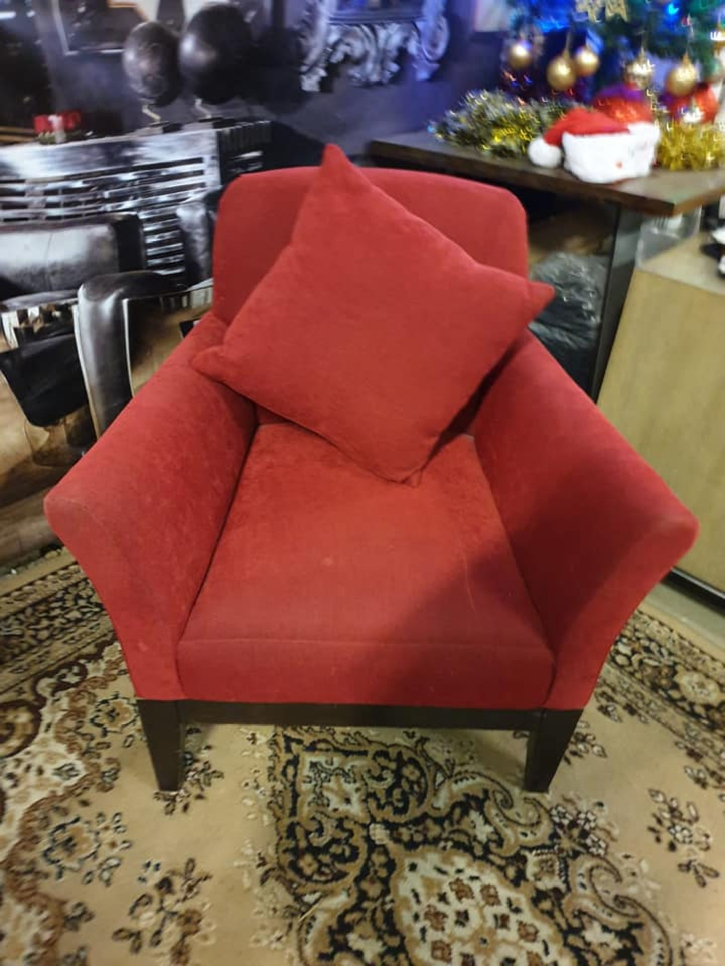 A Pair Of Upholstered Luxury Red Fabric Chairs 80 X 57 X 90cm - Image 2 of 2