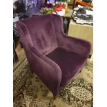 A Pair Of Luxury Upholstered Purple Velvet Chairs With A Small Wingback 80 X 57 X 90cm