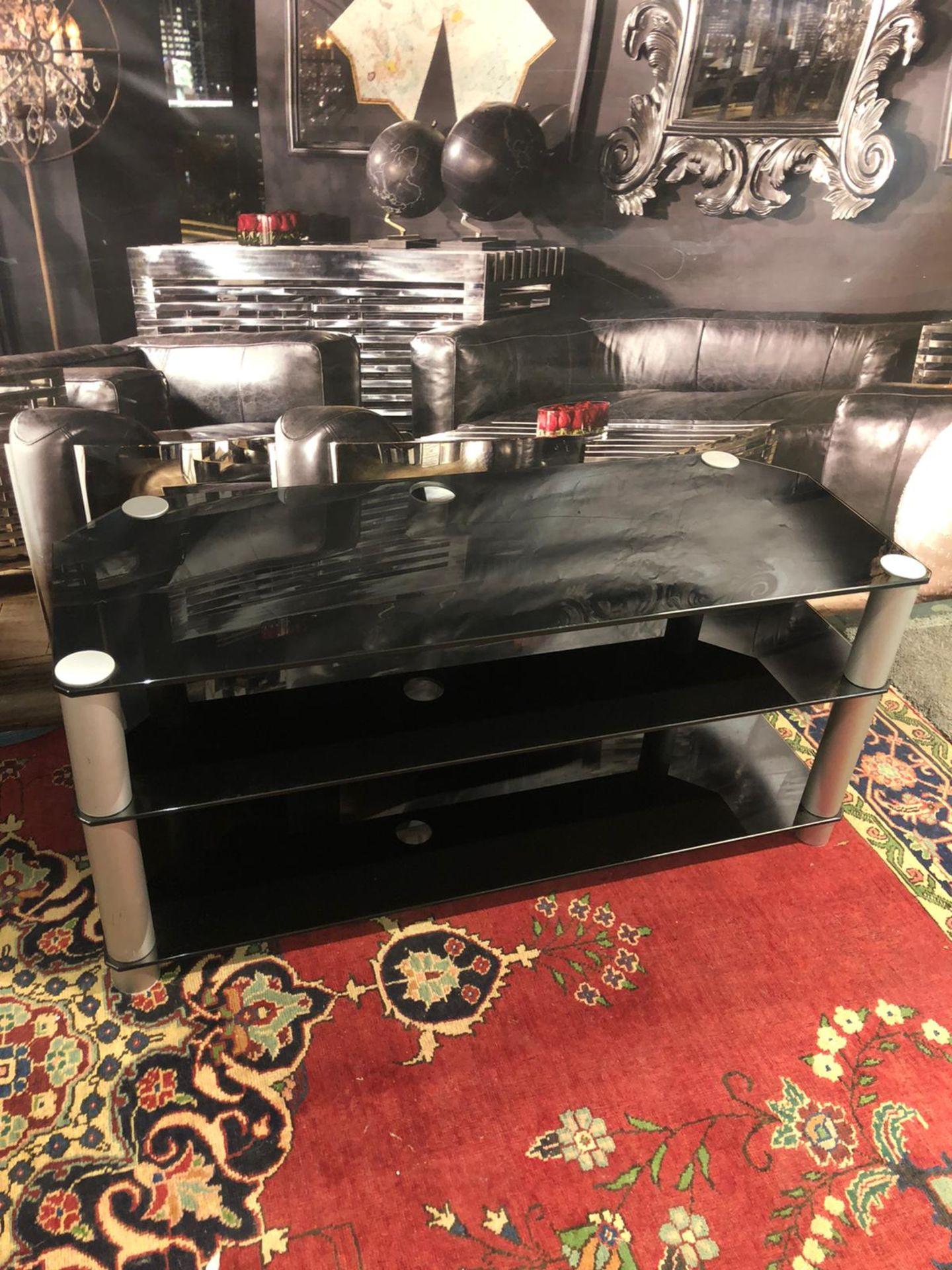 3-Tier TV Media Stand Component Console Multipurpose Shelf Display-Black 120 x 45 x 54cm