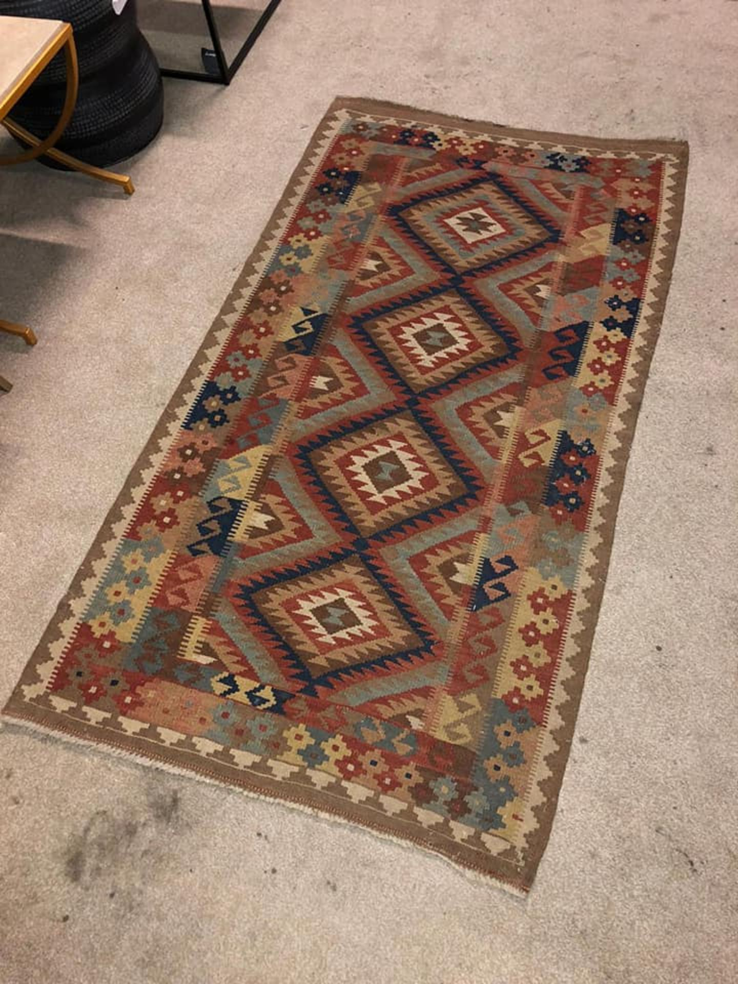 A Vintage Afghani Woven Galmori Rug 100% Short Wool Pile Handmade 180 X 100cm Complete With - Image 2 of 5