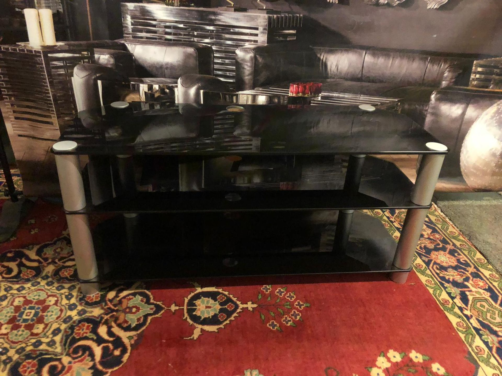 3-Tier TV Media Stand Component Console Multipurpose Shelf Display-Black 120 x 45 x 54cm - Image 2 of 3