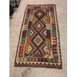 A Vintage Afghani Woven Galmori Rug 100% Short Wool Pile Handmade 180 X 100cm Complete With
