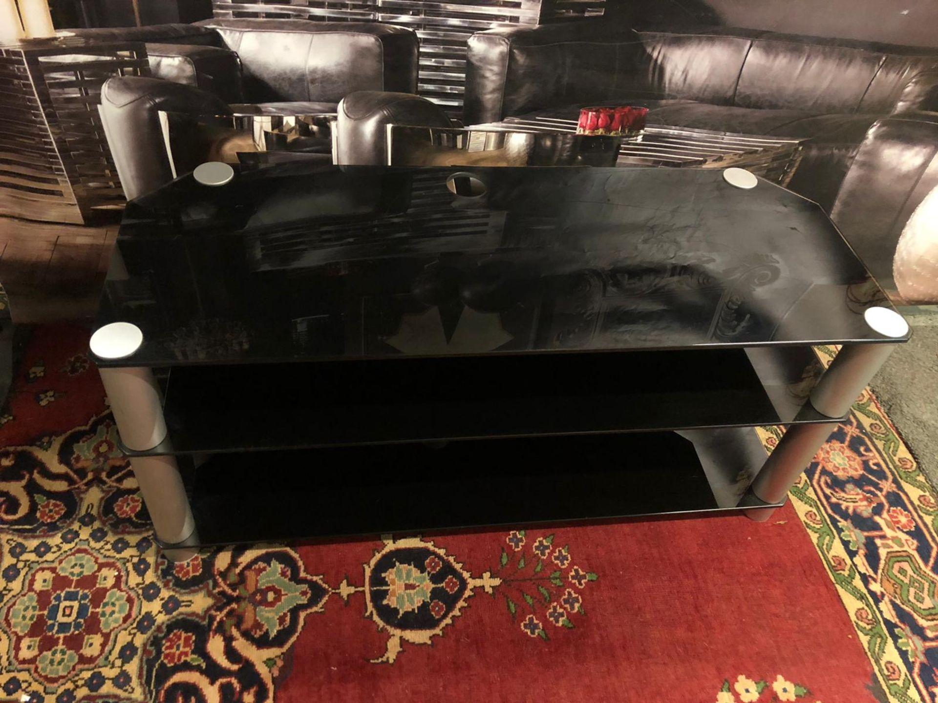 3-Tier TV Media Stand Component Console Multipurpose Shelf Display-Black 120 x 45 x 54cm - Image 3 of 3