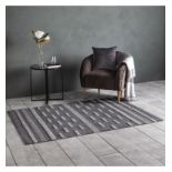 Alamo Rug Contemporary textured rug in a stylish two tone geometric stripe pattern, handmade using a