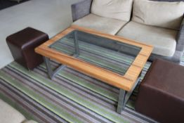 Lyndon Designs Coffee Table Zebrano Timber Frame With Flush Inset 10mm Toughened Glass Top Brushed