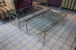 Chelsom Furniture Rectangular Tempered Glass Coffee Table Polished Steel Base FSW/F10133 1020 X