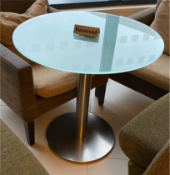 Kesterport Inox Round Circular Table Glass Top Brushed Stainless-Steel Pedestal & Base With 10mm
