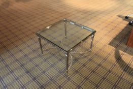 Chelsom Furniture Square Tempered Glass Table Polished Steel Base FSW/F10135 560 X 560 X 430mm