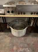 3 X Aluminium Stock Pots Large Size As Photo Shows