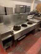 Stainless Commercial Heavy Duty Wok Range . 3 X Burner Rings And Gas Control Tap And Back Splash 150