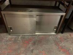 Stainless Steel Commercial Kitchen Wall Cupboard. 2x Sliding Doors 100 X 36 X 50cm