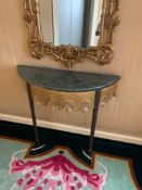 A Wall Mounted Two Legged Console Table The Metal Leg In Antique Bronze With A Detailed Gold Brass