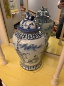 Tall Chinoiserie Temple Jar Blue And White Commissioned By Maitland Smith Hand Painted In Thailand
