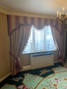 A Pair Of Silk Drapes In A Red And Cream With A Tassel Ribbed Edge Complete With Shaped Canopy