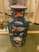 Tall Chinoiserie Porcelain Hand Painted Vase With Butterflies And Flora Commissioned By Maitland