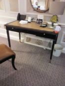 Writing Desk High Gloss Ebony Wood With Tooled Leather Inlay Faux Central Drawer Flanked By Single