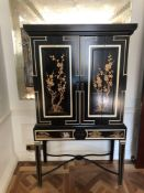 English Georgian Style Black Lacquered Chinoiserie Gilded Cocktail Cabinet Martini Bar Bifold Two