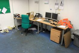 Contents of dispensary office comprising 3 x office desks,2 filing pedestals a notice board and