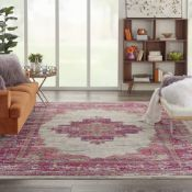 Ivory and Fuchsia Passion Rug Imaginative flowers in lush and saturated pigments grace this