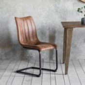 Edington Brown Chair (2pk) A retro classic styled brown faux leather chair pair, with decorative