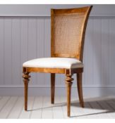 Spire Dining Cane Back Side Chair Blonde European walnut with intricate inlays, antiqued hand wax